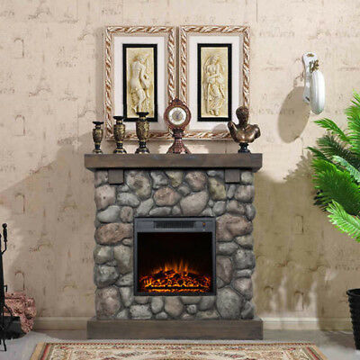 """Electric Fireplace Heater 38"""" Mantle Faux Stone Polyfiber Fire 1500W Remote Home"""