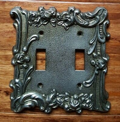 Vintage Ornate Floral Flower Filigree Metal Double Toggle Switch Plate Cover