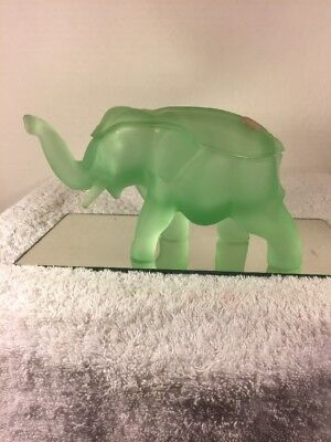 Vintage Indiana Frosted Glass Tiara Elephant Trinket Box Candy Dish