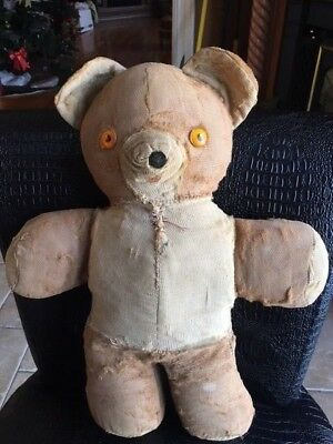 ANTIQUE Mohair Toy TEDDY BEAR no joints