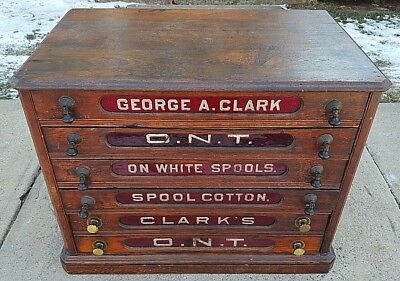 Antique George A Clark ONT Spool Cotton Thread 6 Drawer General Store Cabinet