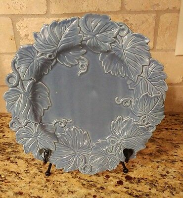 """Fitz and Floyd Garden Blue Embossed Leaves plate 10"""""""