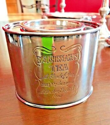 Vintage Silver Plated Tea Caddy Canister Engraved English Breakfast