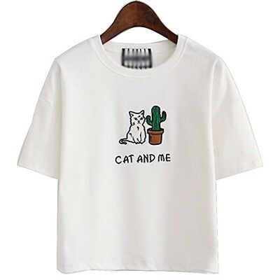 """"""" CAT AND ME """" Womens Funny T-Shirt Kitten and Cactus Cartoon Print SIZE M"""