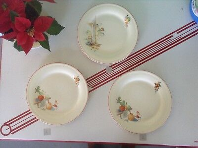 """Edwin Knowles 3 10"""" dinner plates Tia Juana, Bench, Mexican off white red band"""