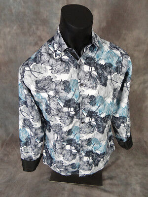 Mens DIAMOND Shirt Abstract Holow Floral Patterns White Blk Button Front Pockets