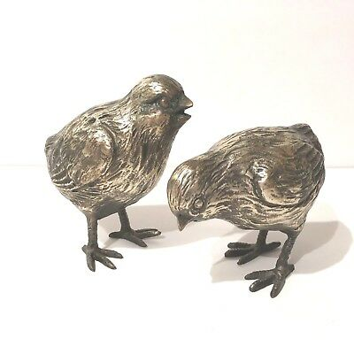 Antique Vintage Pair  Nickel Plated Pewter Chicks Fine Details Unsigned Quality