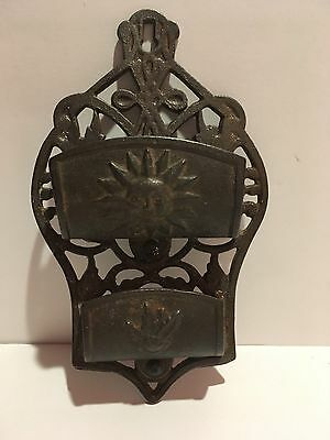 Antique Cast Iron Double Pocket Wall Match Safe Holder Ornate Victorian Rare