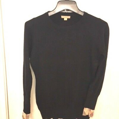 Womens Burberry Brit Black Sweater Classic Criss Cross Pattern on Cuffs SZ Large