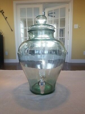 Large Green Glass Apothecary Beverage Dispenser Vintage Glass Party Weddings