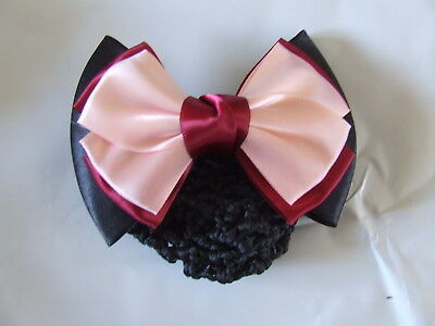 Ecotak Bow Hair Clip with hair net/snood - black, red & pink Ecotak