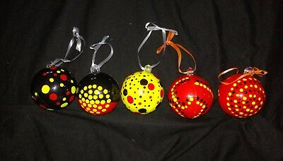 Christmas baubles - Aboriginal Dotwork Black, Yellow and Red