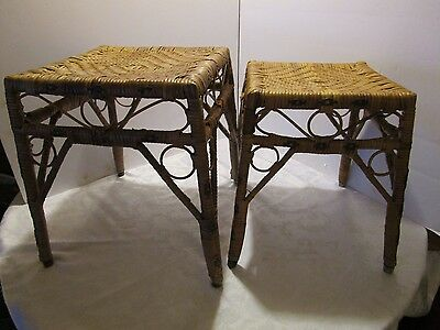 """Pair 2 Wicker Rattan Nesting Tables Stools Stacking Mid-century 16 ¾"""" T Vintage"""