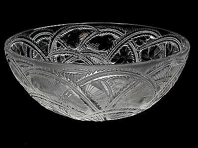 "Signed Lalique Crystal Pinsons Finch Bowl 9 1/4"" Diameter Lalique France XLNT"