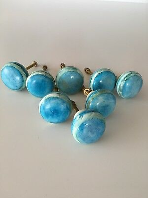 Anthropologie Hardware Drawer Knobs Pulls Round Aqua 8