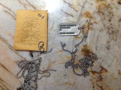 Vietnam War Army Dog Tag with J-Hook stainless steel & 2 bonus chains