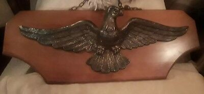 Vintage Large Brass American Bald Eagle Wall Plaque mounted on solid wood