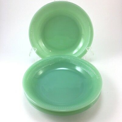 Vintage Jadeite Fire King Jane Ray Soup Bowl FOUR Ribbed Excellent