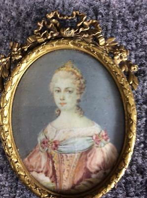 ANTIQUE 18c FRENCH MINIATURE PORTRAIT DUCHESS D'ORLEANS by Louis Marie Sicardi?