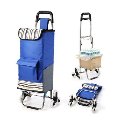 Stair Climb Rolling Blue Shopping Grocery Utility Trolley Folding Cart Large NEW