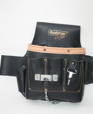 GENUINE LEATHER 10 pkt Electrician Tool Bag Pouch Professional Tool Belt