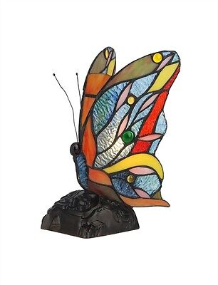 Butterfly Nursery Night Light Colorful Tiffany Style Stained Glass Accent Lamp
