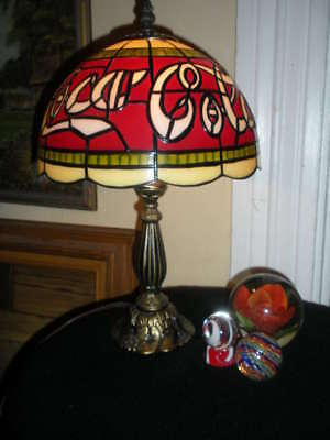 Vintage Stained Glass Style Coca Cola Table Lamp Nice!