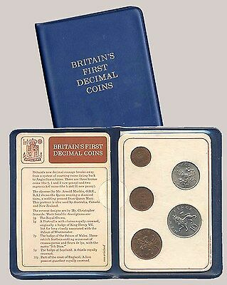 1968-1971 Great Britain / United Kingdom - First Official Mint Decimal Set (5)