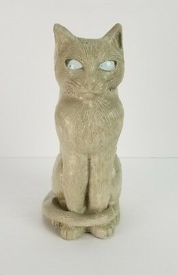 Cat Statue Candle Holder Matchless Grove Figurine Garden Le Chat Marble Eyes