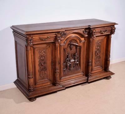 *Antique French Highly Carved Renaissance Revival Sideboard/Buffet in Walnut