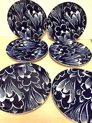 Set of 6 BLOCK Bidasoa Blue &White Porcelain Variance Salad Plates, Spain