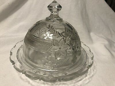 Vintage Cut Glass Round Dome  Butter Or Cheese Dish