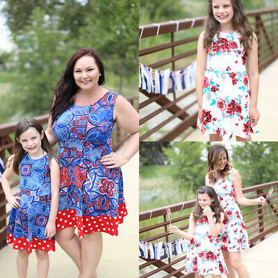 Fashion Loose Dress Mother Daughter Women Girl Soft Party Beach Dress Clothes AU