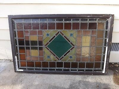"Antique Stained Glass Window Transom Bullseye Pastels Large Landing  51"" X 31 """