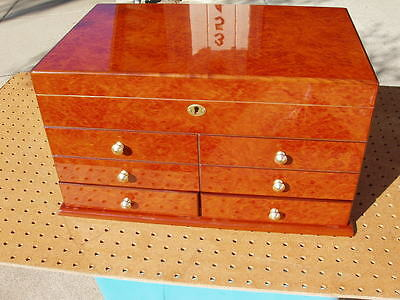 CIGAR CHEST HUMIDOR 2 DRAWER 18 x 11 x 10 BEAUTIFUL CONDITION UNBRANDED