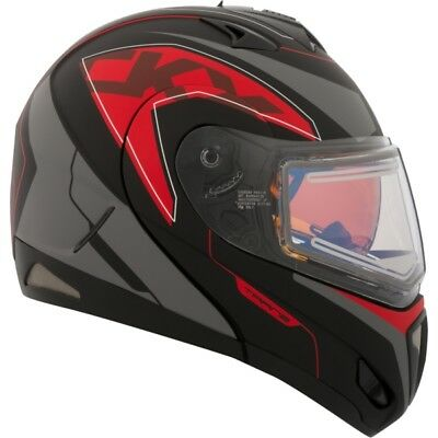 Ckx Eagle Modular Tranz Rsv Matte Red Helmet Snowmobile Winter Electric Shield