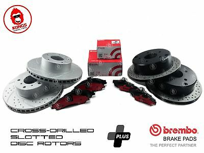 Front & Rear Cross Drilled Slotted Disc Rotors + Brembo Brake Pads HOLDEN VT VX