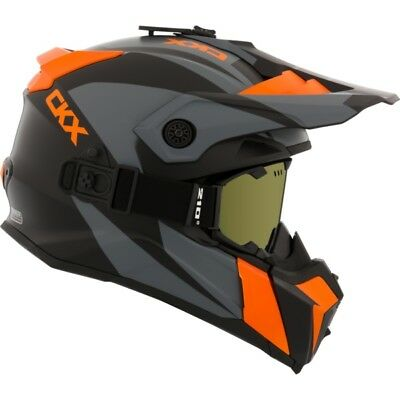 Ckx Titan Matte Orange Off Road Modular Snowmobile Winter Helmet Goggles 2018
