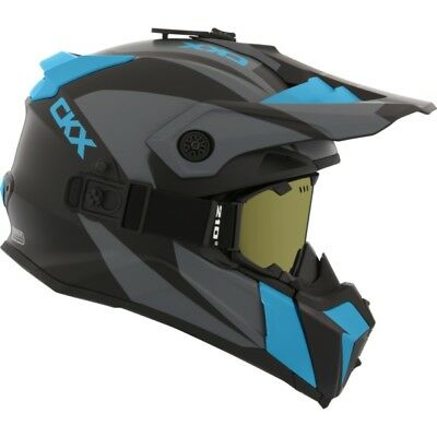 Ckx Titan Matte Blue Grey Off Road Modular Snowmobile Winter Helmet Goggles 2018