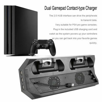 USB Dual Cooling Fans Charging Dock Vertical Stand Holder For PS4 PRO LOT BU