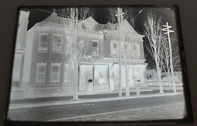 "Antique Glass Negative of Corner Store with 4 people on Walkway circa 1900 5""x7"""