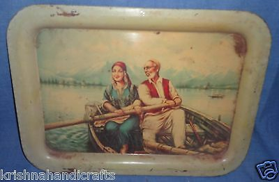 Vintage Old Collectible Sign Father & Daughter Painting Heavy Iron Tray