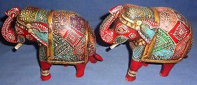 Vintage Decorative Wooden Hand Embossed Painted Colorful Fine Elephant Pair