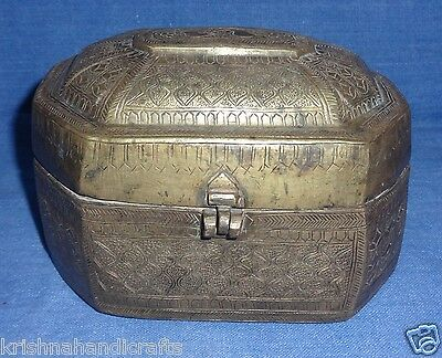 Vintage Old Rare Early Period Brass Trinket Collection Box With Hand Carved