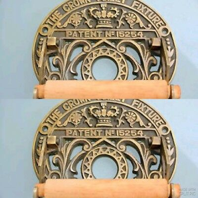 2 Toilet roll holder vintage style old antique CROWN solid brass heavy fixture