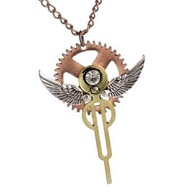 Angel Wings Steampunk Necklace Gothic Victorian Industrial Gears Jewelry