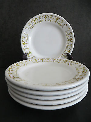 "6 Homer Laughlin Restaurant Ware Side Plates 7 1/4"" Gold Scroll Vintage"