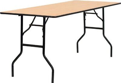 Flash Furniture 30'' x 72'' Rectangular Wood Folding Banquet Table with Clear