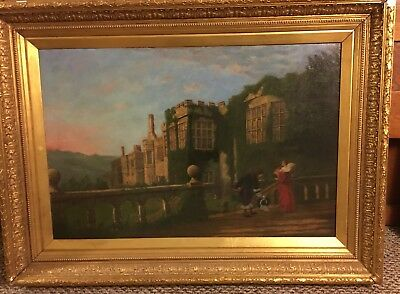 Beautiful Early 19th C Antique English Oil Painting, Medieval Castle Signed Bond