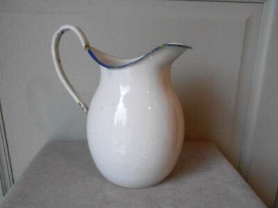 ANTIQUE FRENCH enamelware white Body PITCHER 1930's